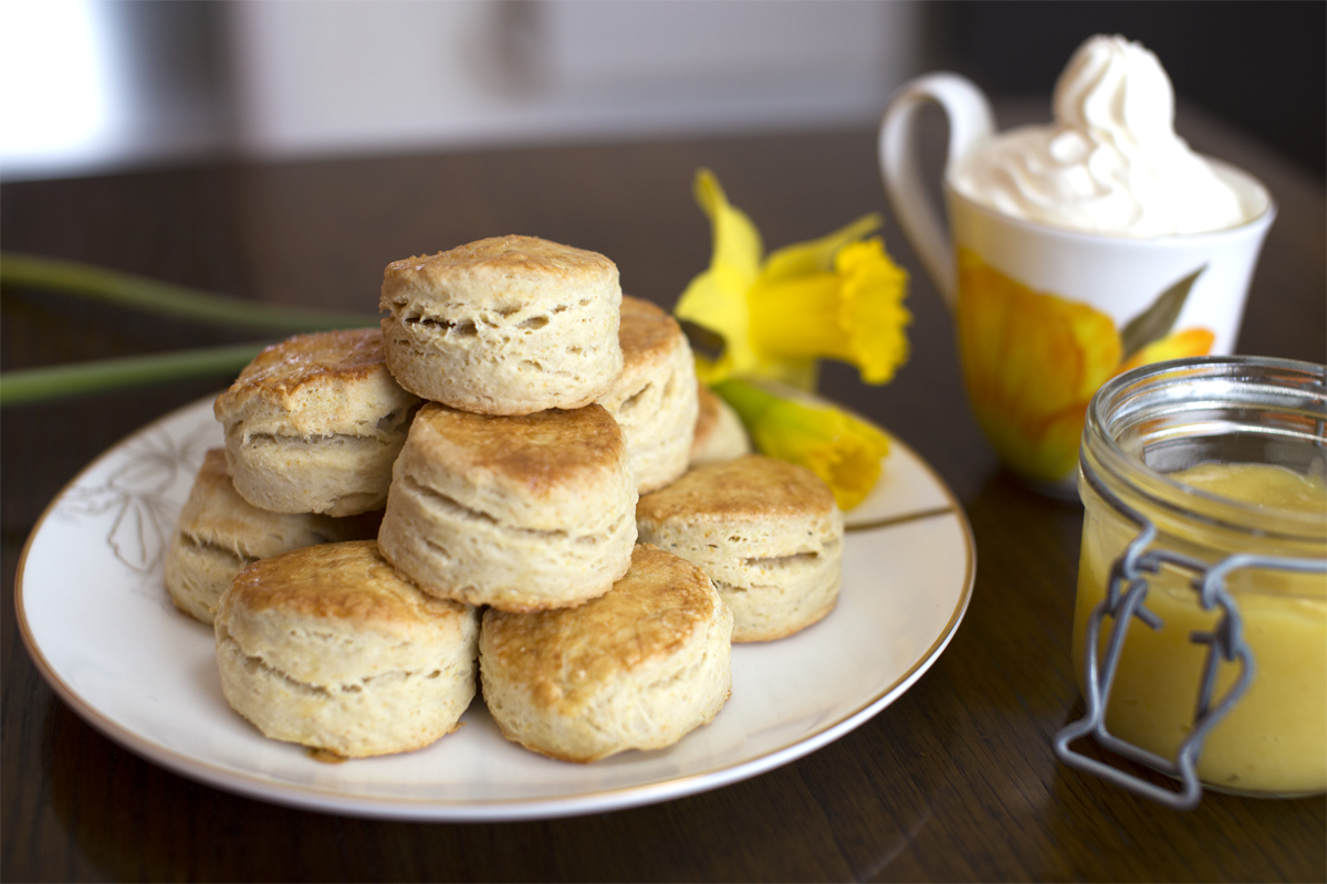 Engelske scones med lemoncurd og flødeskum