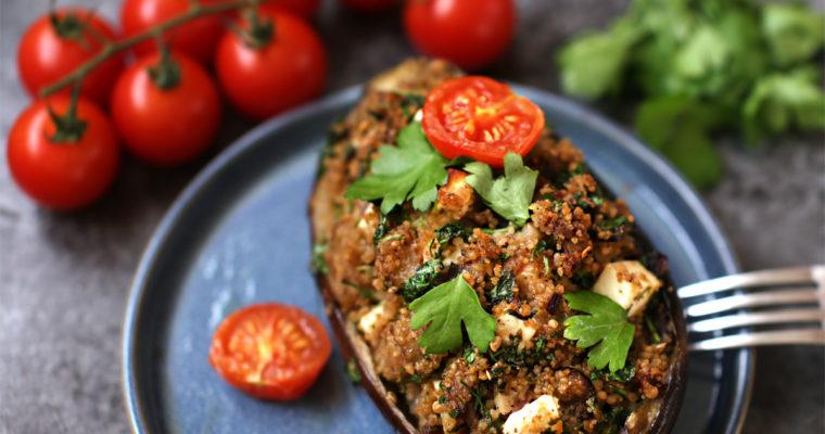 Bagte auberginer med krydret couscous