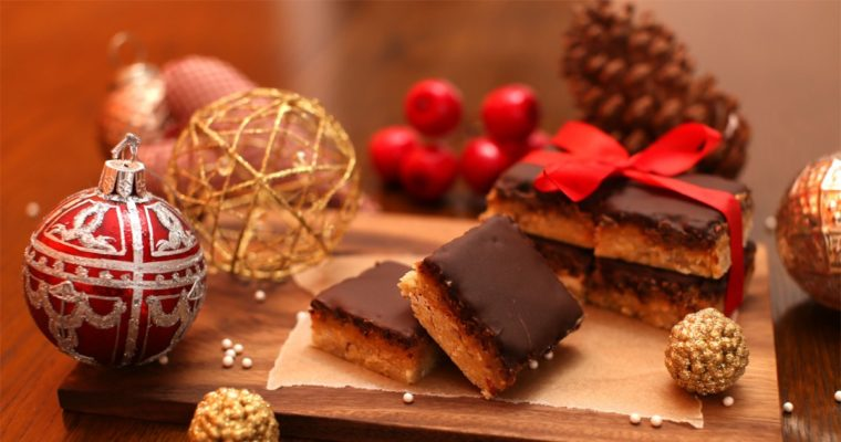Karamelsnitter med chokolade